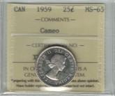 Canada: 1959 25 Cent Cameo ICCS MS65