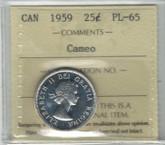 Canada: 1959 25 Cent Cameo ICCS PL65