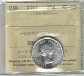 Canada: 1961 25 Cent ICCS MS65