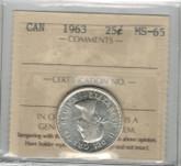 Canada: 1963 25 Cent ICCS MS65