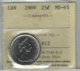 Canada: 1969 25 Cent ICCS MS65