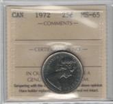 Canada: 1972 25 Cent ICCS MS65