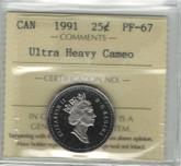 Canada: 1991 25 Cent Ultra Heavy Cameo ICCS PF67