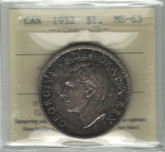 Canada: 1952 Silver Dollar Waterline ICCS MS63