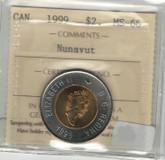 Canada: 1999 $2 Toonie Nunavut ICCS MS66