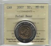Canada: 2007 $2 Toonie Polar Bear ICCS MS66