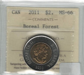 Canada: 2011 $2 Toonie Boreal Forest ICCS MS66