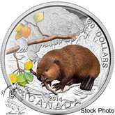 Canada: 2014 $20 Baby Animals: Baby Beaver Coloured Pure Silver Coin