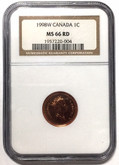 Canada: 1998W One Cent NGC MS66RD