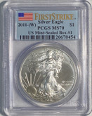 United States: 2011 (W) American Silver Eagle First Strikes PCGS MS70