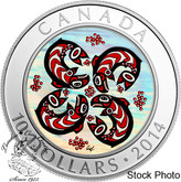 Canada: 2014 $10 First Nations Art: Salmon Silver Coin