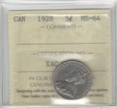 Canada: 1928 5 Cent ICCS MS64