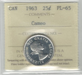 Canada: 1963 25 Cent Silver ICCS PL65 Cameo