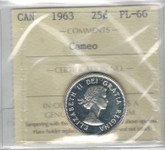 Canada: 1963 25 Cent Silver ICCS PL66 Cameo