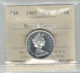 Canada: 1965 25 Cent Silver ICCS PL66 Heavy Cameo