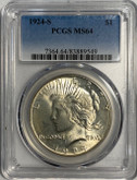 United States: 1924S Peace Dollar PCGS MS64