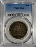 United States: 1858 50 Cent PCGS XF40