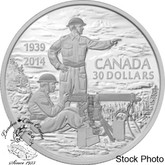 Canada: 2014 $30 75th Anniversary of the Declaration of the Second World War Silver Coin