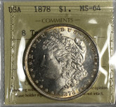 United States: 1878 Morgan Dollar 8 Tail Feathers ICCS MS64