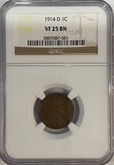 United States: 1914D 1 Cent NGC VF25BN