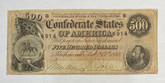 United States: 1864 $500 Confederate States of America Richmond T64