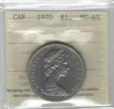 Canada: 1970 Nickel Dollar ICCS MS65