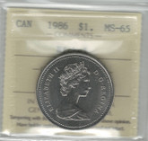 Canada: 1986 Nickel Dollar ICCS MS65