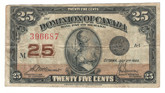 Canada: 1923 25 Cent Banknote Dominion of Canada DC-24c Lot#117