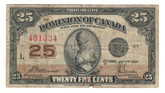 Canada: 1923 25 Cent Banknote Dominion of Canada DC-24c Lot#121