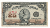 Canada: 1923 25 Cent Banknote Dominion of Canada DC-24c Lot#125