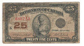 Canada: 1923 25 Cent Banknote Dominion of Canada DC-24d Lot#71