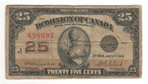 Canada: 1923 25 Cent Banknote Dominion of Canada DC-24d Lot#72
