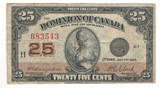 Canada: 1923 25 Cent Banknote Dominion of Canada DC-24d Lot#75