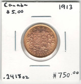 Canada: 1913 $5 Gold Coin Lot#14