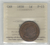 Canada: 1858 Large Cent ICCS F15