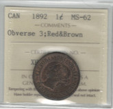 Canada: 1892 Large Cent Obv. 3 ICCS MS62 R&B