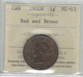 Canada: 1900H 1 Cent ICCS MS63 Red & Brown
