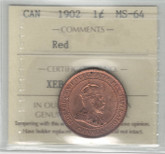 Canada: 1902 1 Cent ICCS MS64 Red
