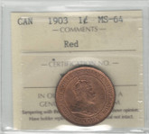 Canada: 1903 1 Cent ICCS MS64 Red