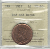 Canada: 1917 1 Cent ICCS MS63 Red & Brown