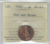 Canada: 1922 1 Cent ICCS MS63 Red and Brown