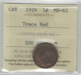 Canada: 1929 1 Cent ICCS MS62 Trace Red