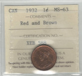 Canada: 1932 1 Cent ICCS MS63 Red & Brown