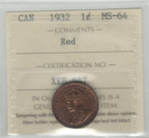 Canada: 1932 1 Cent ICCS MS64 Red
