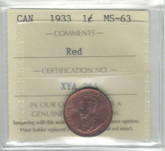 Canada: 1933 1 Cent ICCS MS63 Red