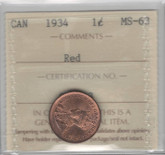 Canada: 1934 1 Cent ICCS MS63 Red