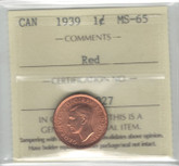 Canada: 1939 1 Cent ICCS MS65 Red