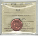 Canada: 1951 1 Cent ICCS MS64 Red #2