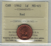 Canada: 1962 Cent ICCS MS65 Red
