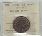 Canada: 1898H Large Cent ICCS MS62 Red and Brown